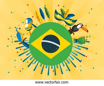 brazil carnival poster with flag and set icons