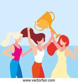 young women with gold trophy