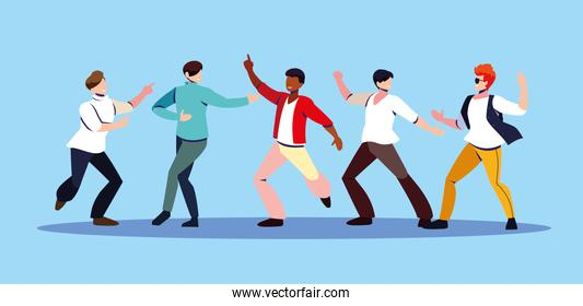 scene of men in dance pose, party, dance club