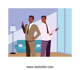 businessmen in the living room with different poses