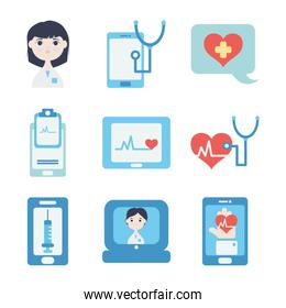 cardio hearts and doctor online icon set, flat style