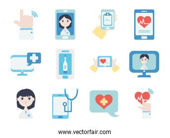 computers and doctor online icon set, flat style