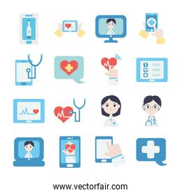 cardio hearts and health online icon set, flat style
