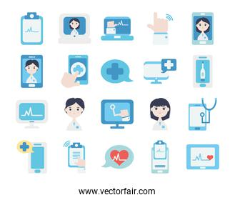 health online and doctor online icon set, flat style