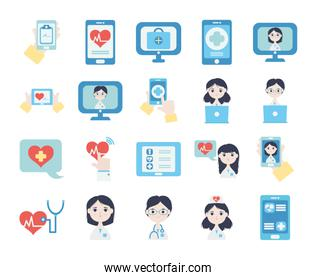 cartoon doctors and health online icon set, flat style