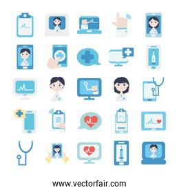 cartoon doctos and doctor online icon set, flat style