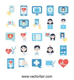 doctors and health online icon set, flat style