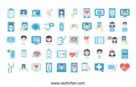 doctor online icon set, flat style
