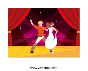 couple of people on the dance floor, party, dancing club, music and nightlife