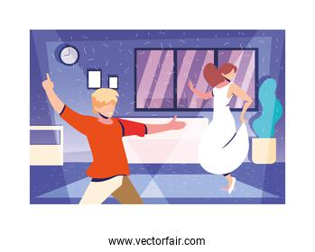 couple of people dancing in home , party, music and nightlife