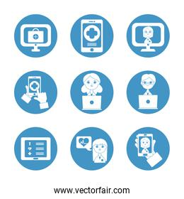 technology devices and health online icon set, block style