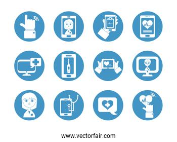 computers and doctor online icon set, block style