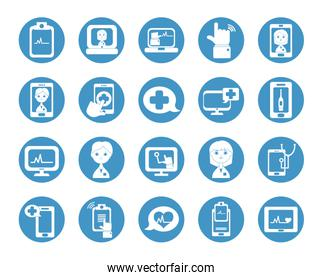 health online and doctor online icon set, block style
