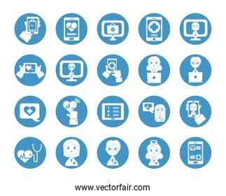cartoon doctors and health online icon set, block style
