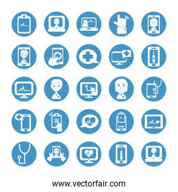 cartoon doctos and doctor online icon set, block style