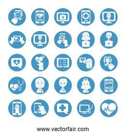 doctors and health online icon set, block style