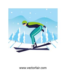 man with mountain ski in landscape of winter