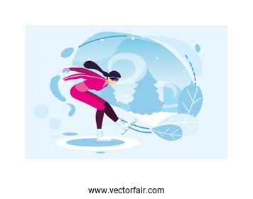 woman ice skating in landscape of winter