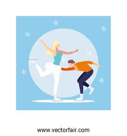 couple of people practicing figure skating