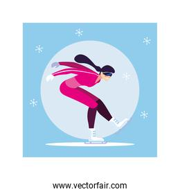 young woman ice skating , winter sport