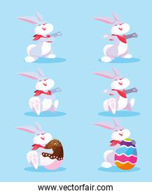 set of bunnies with easter eggs, happy easter