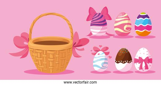 set of decorated easter eggs , happy easter