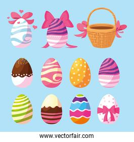 set of easter eggs, happy easter