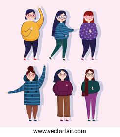 group people women character with casual clothes leisure