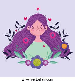 happy mothers day, cute woman flowers in hair celebration greeting card