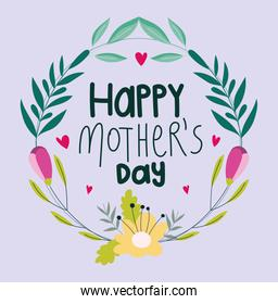 happy mothers day, floral wreath decoration flowers
