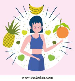 young woman with tropical fruits nutrition healthy life