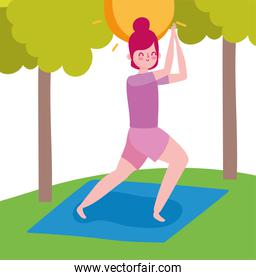 young woman practicing yoga in mat outdoor healthy life
