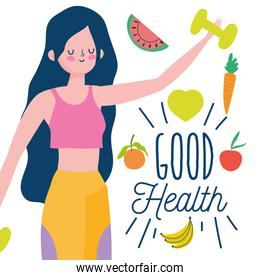 woman with dumbbell gym and fresh fruits healthy life