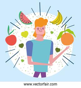 young man with tropical fruits nutrition healthy life