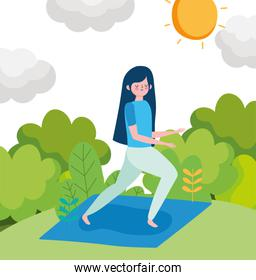 young woman practicing yoga in the outdoor healthy life