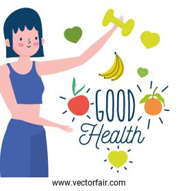 young woman with fruits and dumbbell healthy life