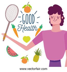 man with fruits vegetables food healthy life