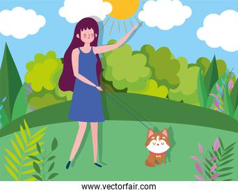 young woman and dog in the park healthy life