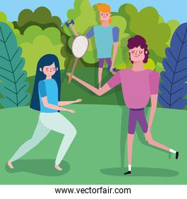 people practicing yoga lifting weight and sport outdoor healthy life
