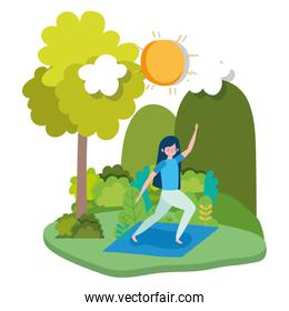 young woman gesture yoga in the mat outdoor healthy life