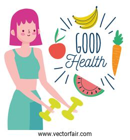 sport woman with dumbbell fruits vegetables healthy life