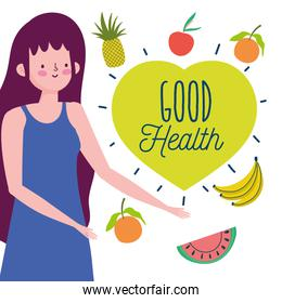young woman and delicious fruit vegetables healthy life