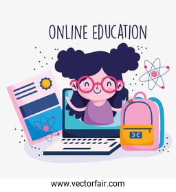 education online, girl in computer certificate backpack, coronavirus pandemic