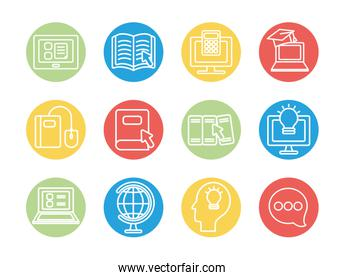 academic books and education online icon set, line block style