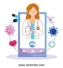 online health, female doctor professional smartphone consultation covid 19 pandemic