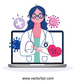 online health, female doctor professional in laptop diagnostic covid 19 pandemic
