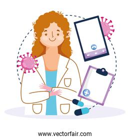 online health, female doctor smartphone diagnostic covid 19 pandemic