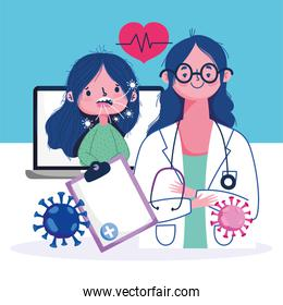 online health, female doctor with computer and patient with cough covid 19 pandemic