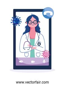 online health, female doctor professional smartphone calling help covid 19 pandemic