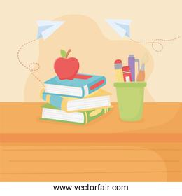happy teachers day, school apple on books and supplies